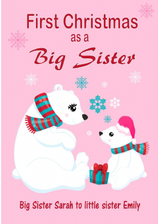 Personalised Big Sister to Little Sister Christmas Card Design 2